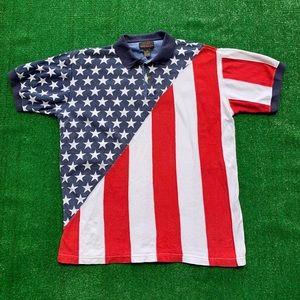 Vintage DB Classic American Flag Stars Polo